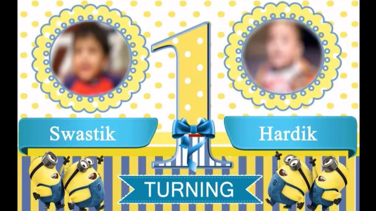 MINION THEME WHATS APP BIRTHDAY INVITATION FOR TWINS MIN - App for birthday invitation