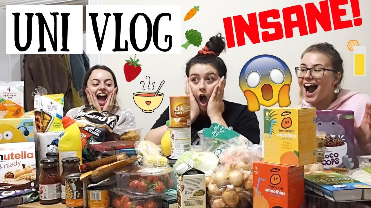 UNI VLOG | INSANE £100+ STUDENT FOOD HAUL, 1ST DAY BACK & GOING TO THE GYM!