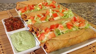 How To Make Chicken Flautas-Mexican Food Recipes-No Toothpick Rolled Tacos/Taquitos