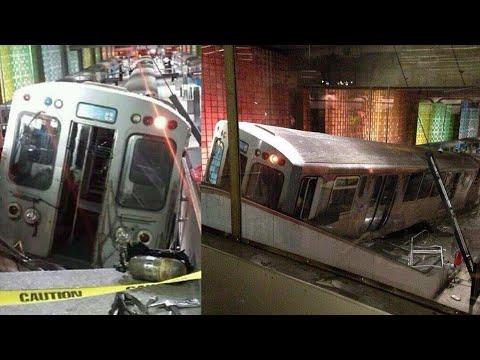 Subway Train Derailment At Chicago Airport Station Injures 30; Boston Train Derails - Compilation