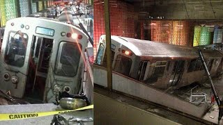 Subway train derailment at Chicago airport station injures 30; Boston train derails - Compilation
