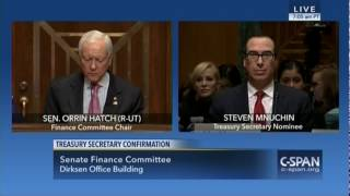 "Sen. Hatch: Mnuchin Is Unquestionably Qualified, Has ""Three Decades"" Of Finance Experience"