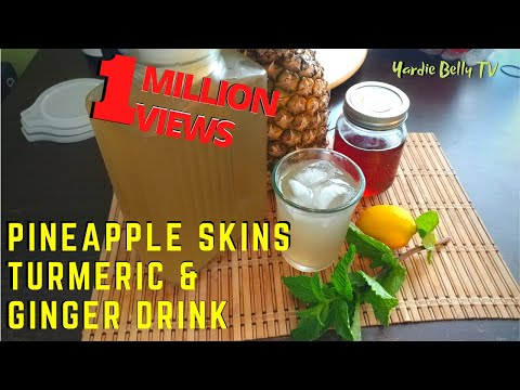 Traditional Jamaican Pineapple, Ginger Drink with Turmeric