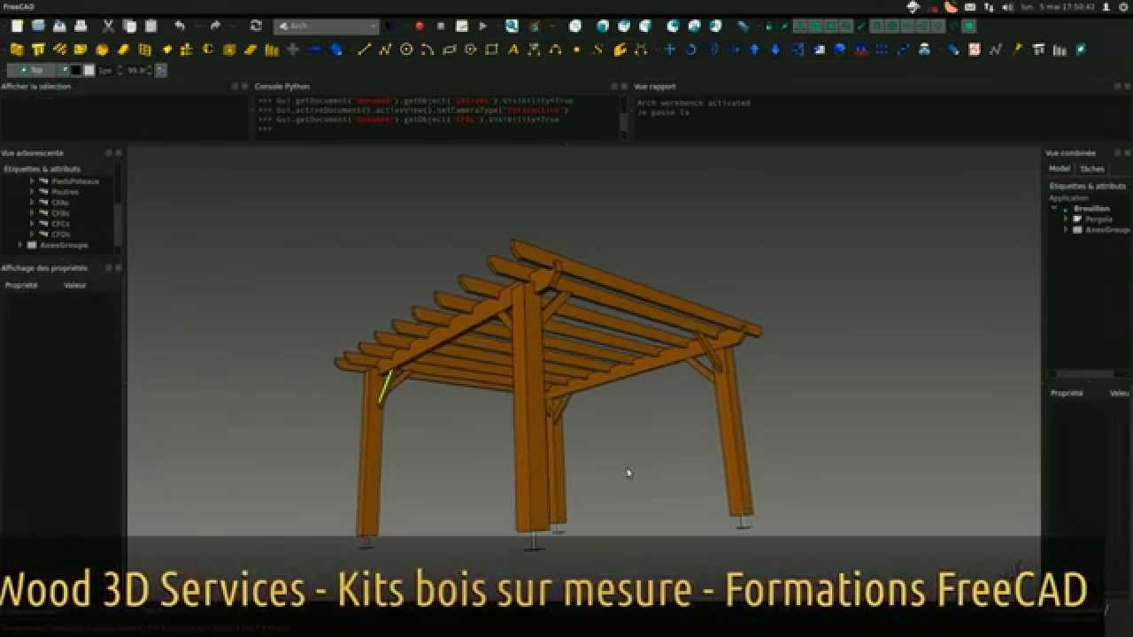 Kit Pergola Bois Freecad Wood 3d Services Youtube