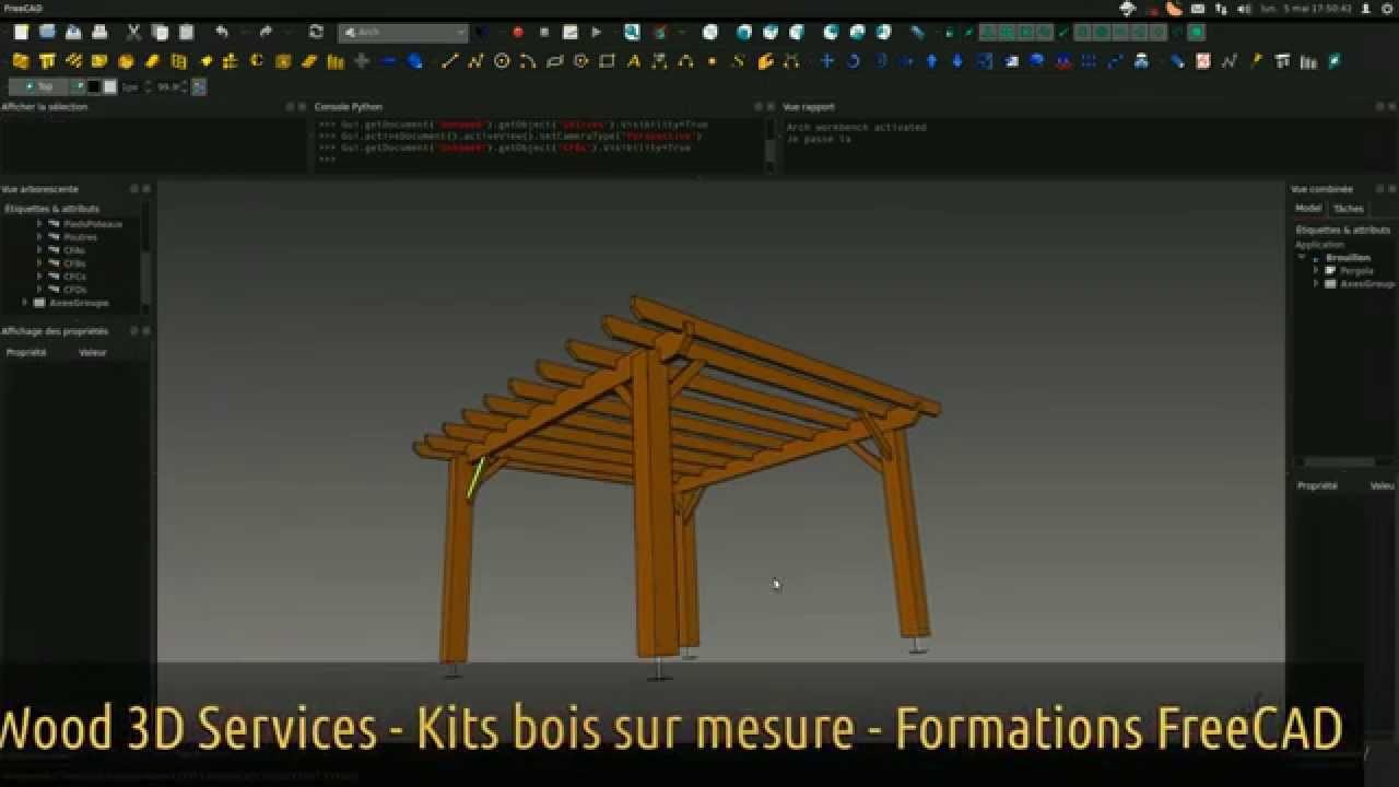 Kit Pergola Bois FreeCAD Wood 3D Services YouTube