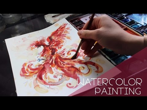 Painting a Phoenix// WATERCOLOR PAINTING // Coco Bee