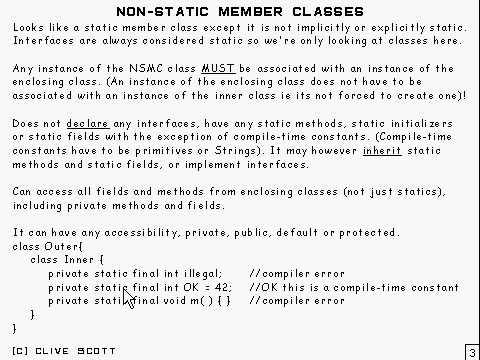Java: 21 Nested classes - Non-static member classes