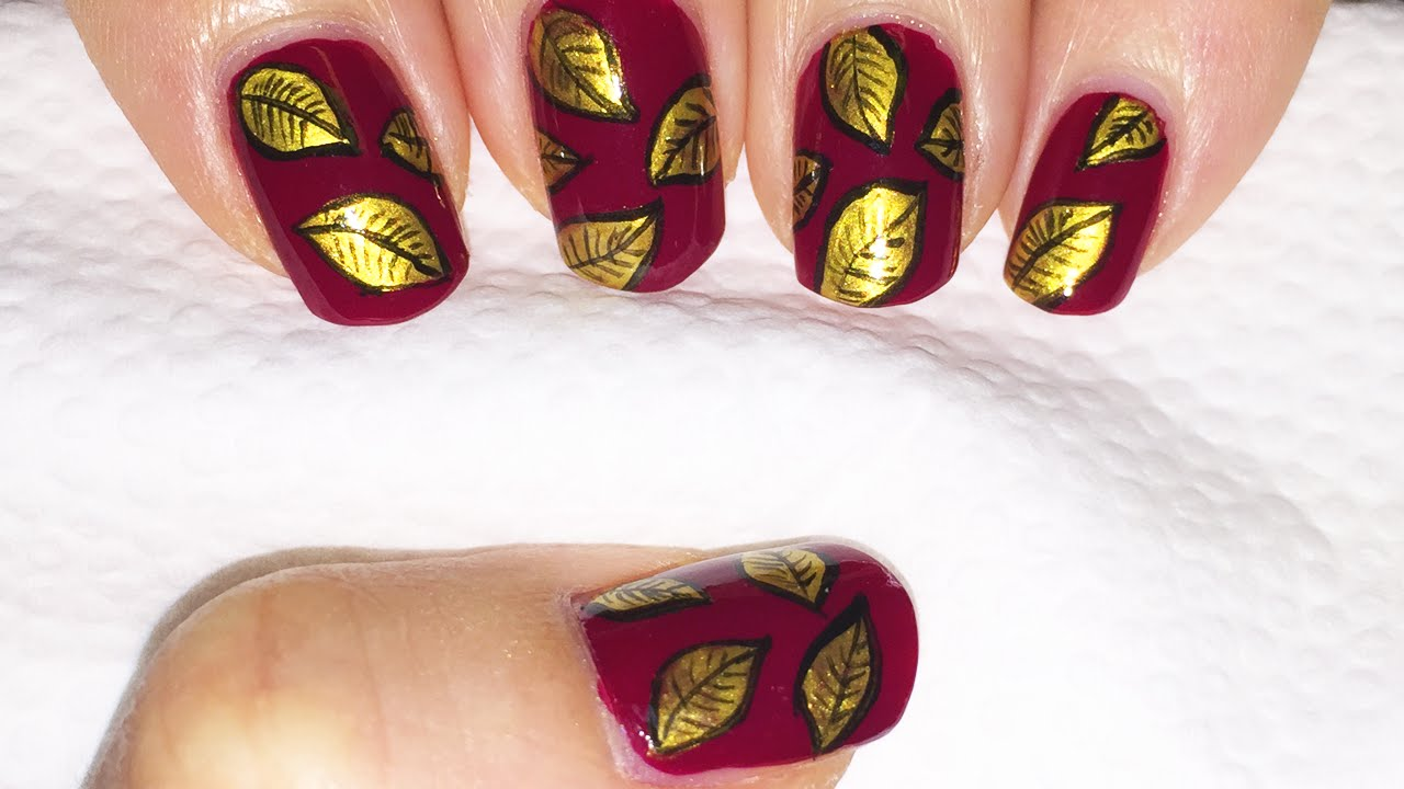 Dark red and gold Fall leaves nail design! - YouTube