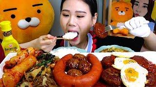 잡채 함박볼 함박스테이크 소세지 된장찌개 먹방 Mukbang