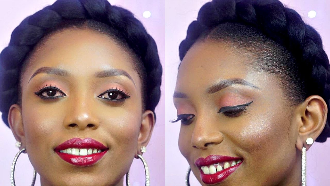How To The Perfect Halo Goddess Braids On Short Natural Hair Youtube