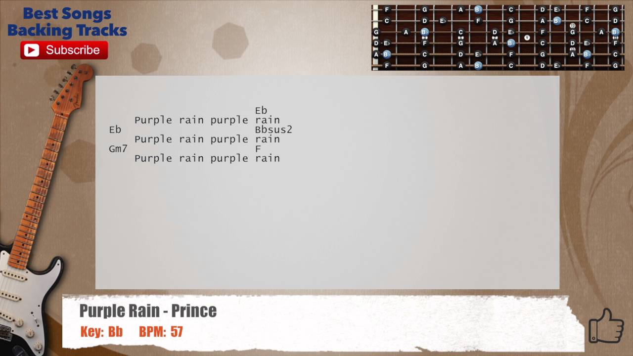 Purple Rain Prince Guitar Backing Track With Scale Chords And
