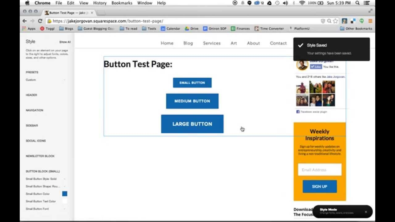 How to create and style buttons in Squarespace