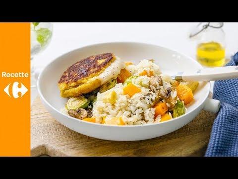 cordon-bleu,-salade-de-riz-aux-légumes-d'automne-grillés,-vinaigrette-au-miel
