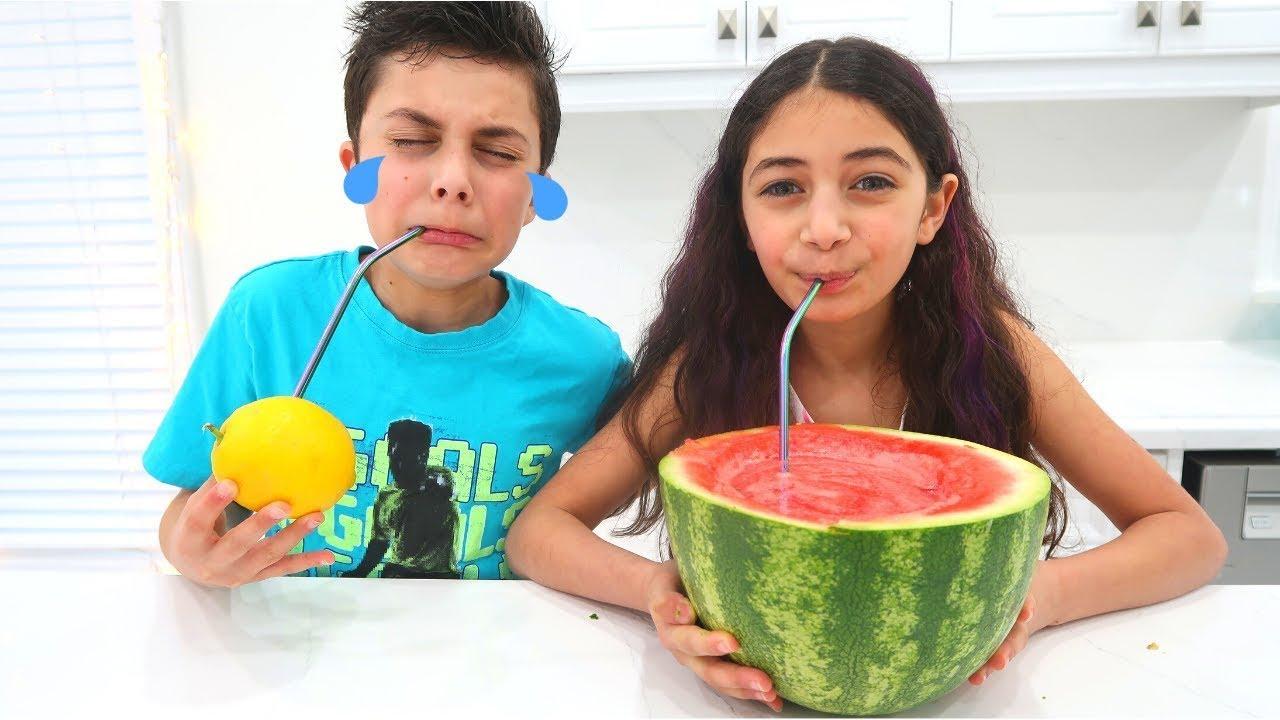 Heidi & Zidane पीने के लिए स्वादिष्ट फलों का जूस बनाया