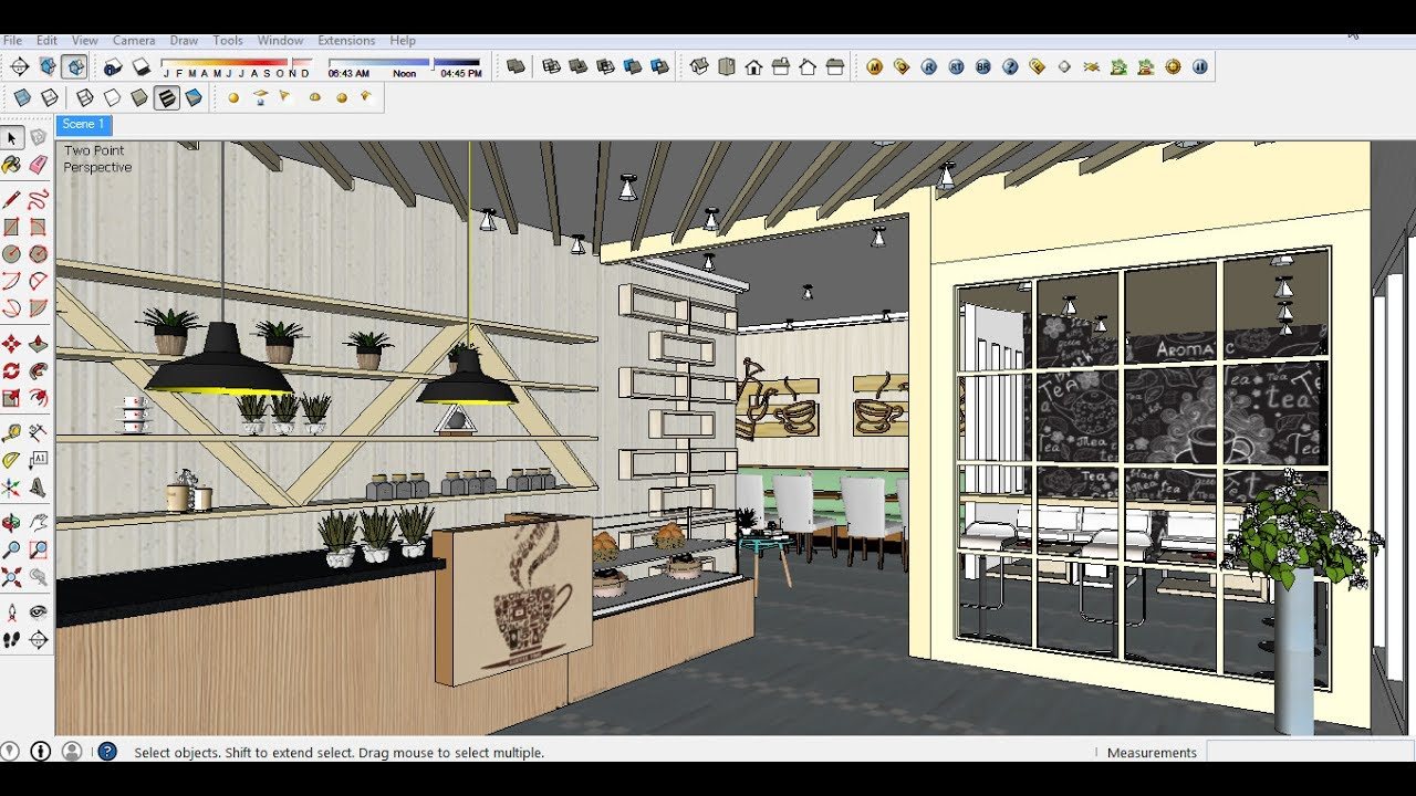 Cafe design sketchup mapping part youtube