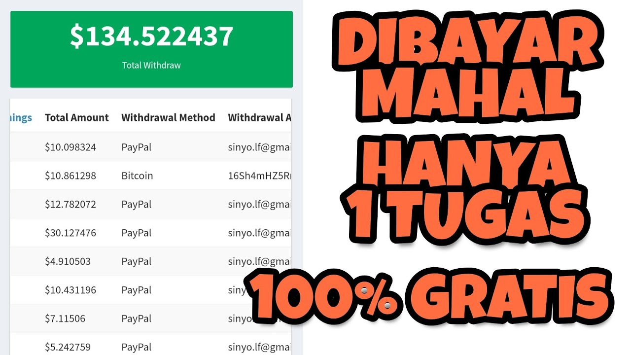 $134 HANYA 1 TUGAS !! WEBSITE PENGHASIL UANG BITCOIN & DOLAR PAYPAL | PENGUMUMAN GIVEAWAY