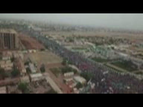 Sudan - Drone footage of mass protest in Sudan capital / Protests continue in Sudan as deadlock roll