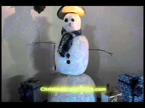 Christmas Laser Lights - Blue/Green Laser Moving On Snowman