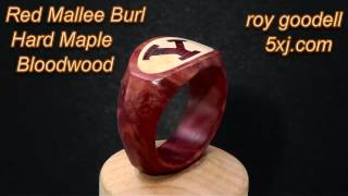 Red Mallee Burl Ring W/ Hard Maple & Bloodwood Inlays