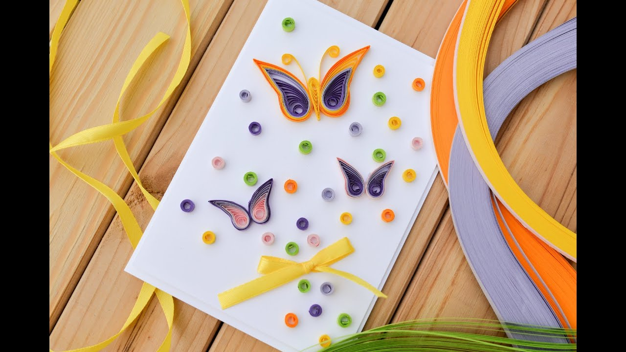 How to make easy greeting card quilling butterfly step for Easy quilling designs step by step