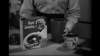 VINTAGE 1960 AUNT JEMIMA PANCAKES COMMERCIAL - CROSS PROMOTION WITH GREEN GIANT CORN