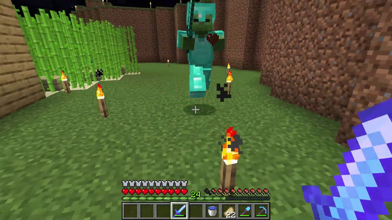 Giving A Lucky Zombie Full Diamond Armor And Sword Minecraft