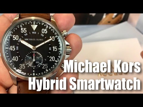 b4f34b2b9636 Michael Kors Access Gage Silver-tone   Brown Leather Hybrid Slim Runway  Smartwatch MKT4001 by Fossil