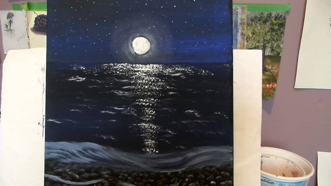 Paint A Night Moon And Glow Scene With Acrylic Paint