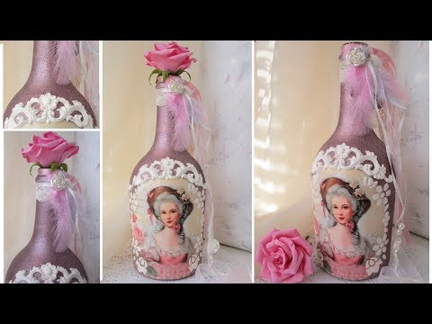 Decoupage Vintage Bottle Art with silicone mold recycled DIY
