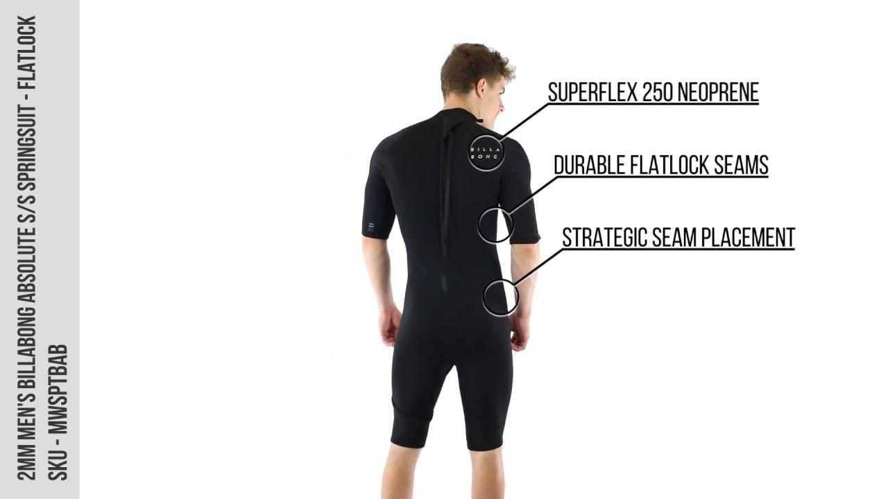 2mm Men's Billabong ABSOLUTE Flatlock S/S Springsuit - Wetsuit Wearhouse