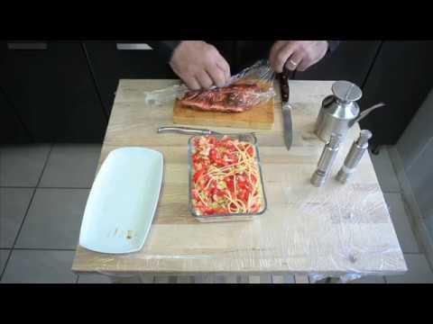 Travers de porc sur lit de spaghettis aux petits légumes