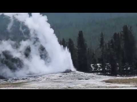 Old Faithful Geyser Eruption in Yellowstone, Wyoming