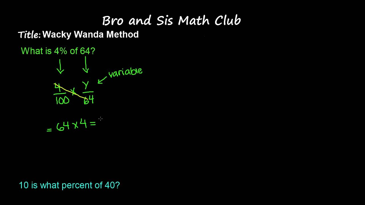 6th Grade Math Wacky Wanda Method To Find Percentage