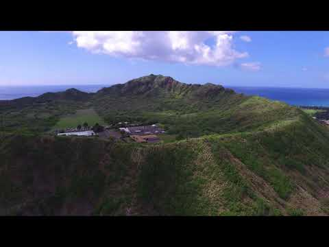Drone test 2. Honolulu skyline and Diamond Head Volcano.