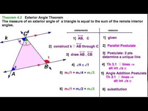 4 1 proving triangle exterior angle theorem youtube - Sum of the exterior angles of a triangle ...