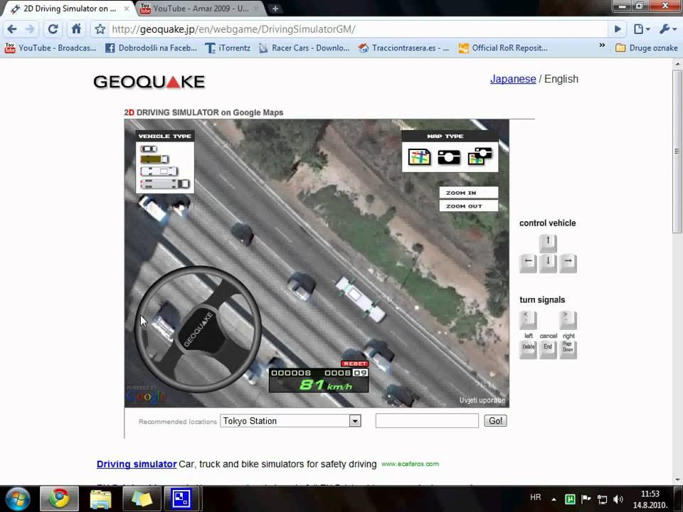 2D Driving Simulator On Google Maps avi