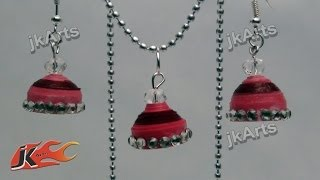 DIY How to make Paper Quilling Jhumka and Pendant set JK Arts 290