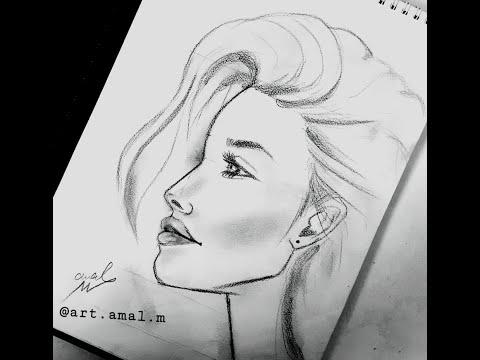 Drawing/رسم بالرصاص/ كيفية رسم وجه من الجانب لفتاة شابة خطوة بخطوة للمبتدئين