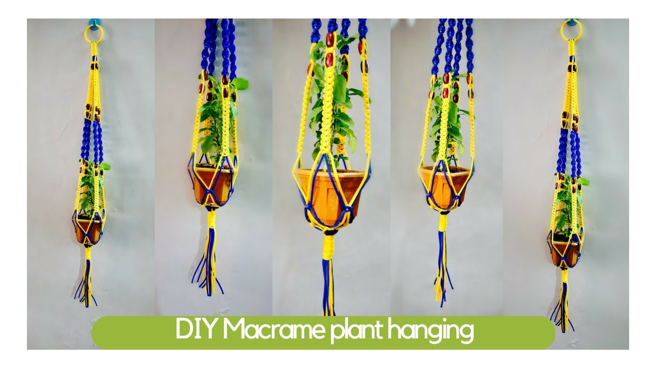 How To Make Macrame Plant Hangers Macrame Art Easy Diy Tutorial In Hindi Youtube