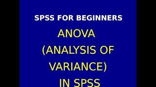 12  ANOVA using SPSS