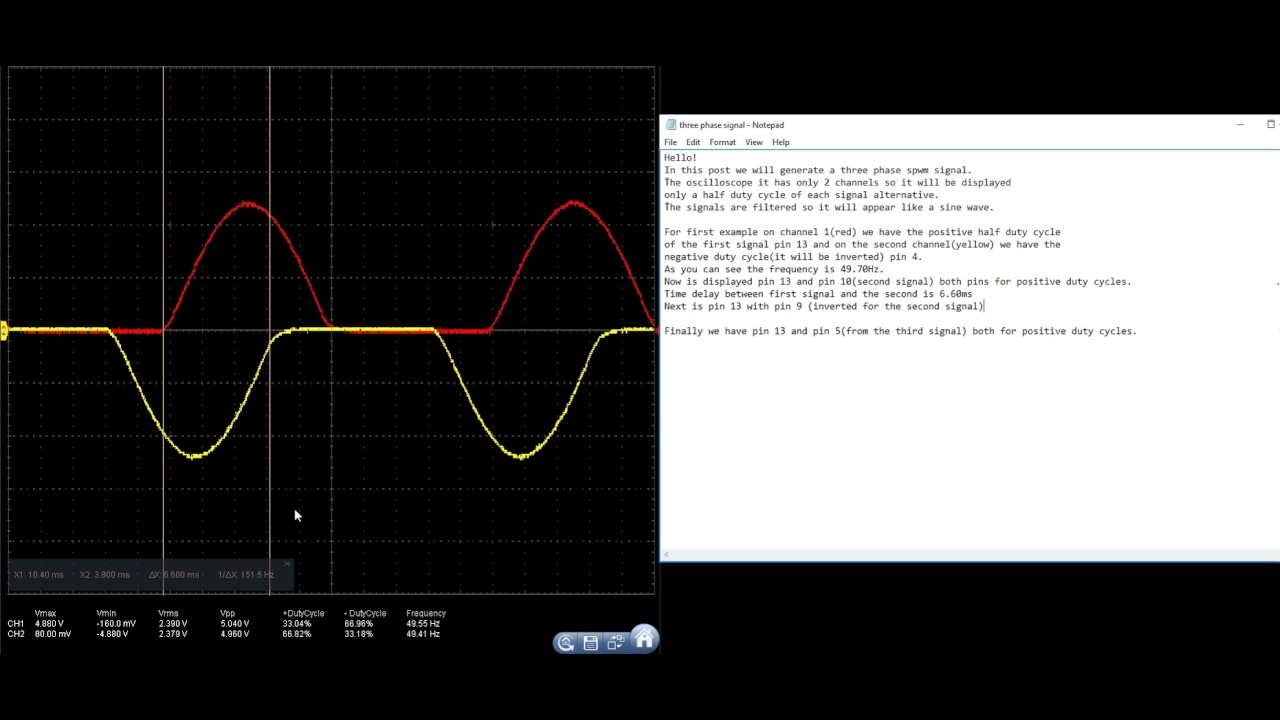 How to generate three phase spwm signal with arduino