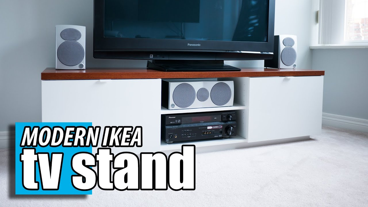 ikea byas tv stand diy wood transformation hack youtube