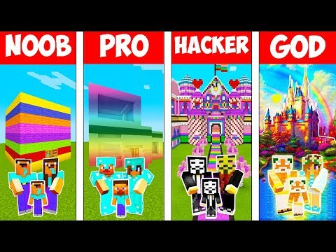 Minecraft: FAMILY MODERN RAINBOW HOUSE BUILD CHALLENGE - NOOB vs PRO vs HACKER vs GOD in Minecraft