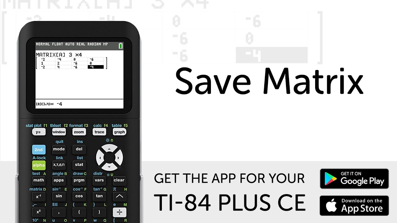 save matrix manual for ti 84 plus ce graphing calculator youtube rh youtube com ti 84 manuel ti 84 manual programs