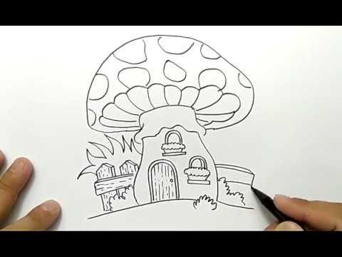 Cara Menggambar Rumah Jamur Kurcaci Dengan Mudah Youtube