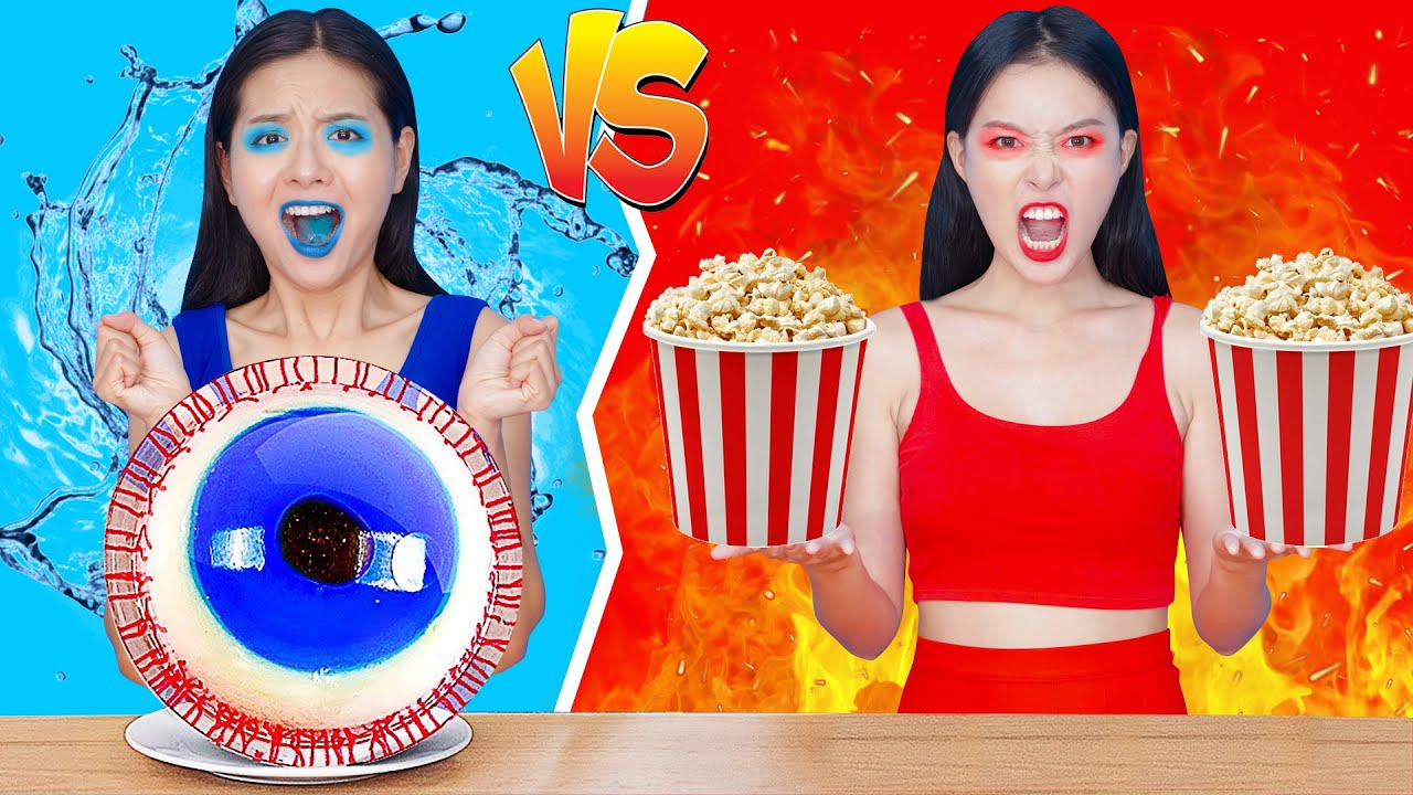 Try Not To Laugh Challenge   Red Vs Blue Color Challenge! Eating Everything In One Color Challenge