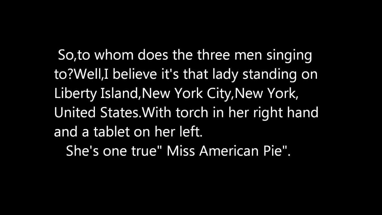 an analysis of the song american pie sung by don mclean Singer-songwriter's lyric drafts for the song american pie sold to a mystery buyer  at  bye bye miss american pie: don mclean's manuscript fetches $12m   would shed light on the meaning behind the song's elusive lyrics.