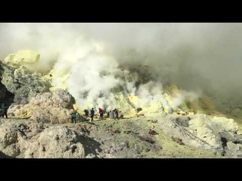 Ijen Crater Sulfur Mining