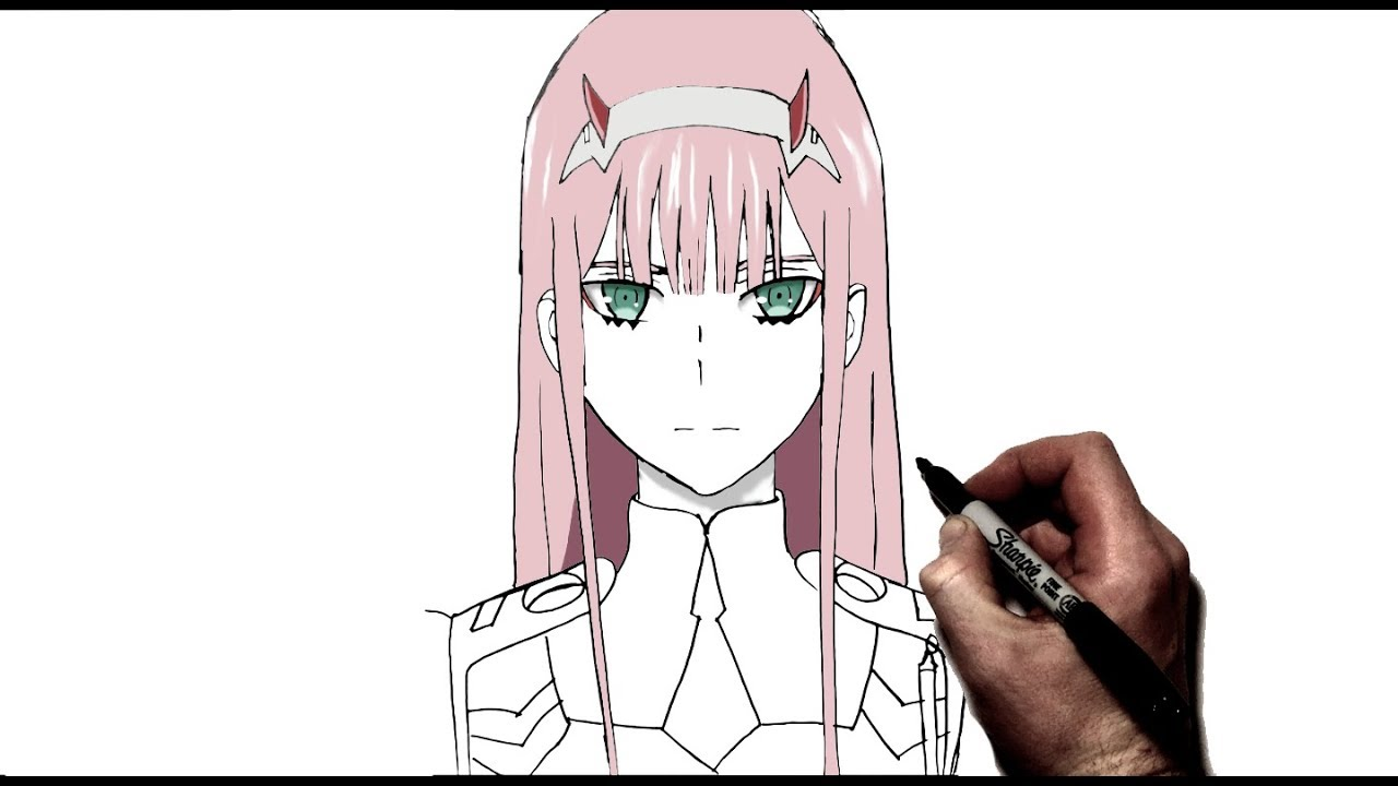 How to Draw Zero Two  Step by Step  Darling in the Franxx