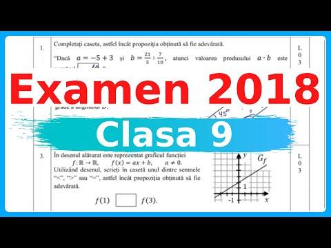 Testul De EXAMEN MATEMATICA 2018, Clasa 9 | Examen.md